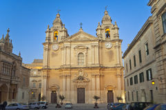 St. Paul's Cathedral, Mdina, Malta. The St. Paul's Cathedral in Malta's old capital Mdina in the evening Royalty Free Stock Photo