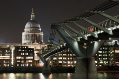 St Paul's Cathedral and Millenium Bridge, London Stock Photo