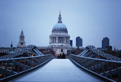 St Paul's Cathedral and Millenium Bridge in London Royalty Free Stock Image