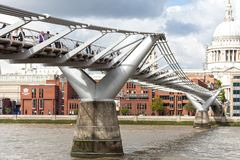 St Paul s Cathedral and Millenium Bridge in London Royalty Free Stock Photography