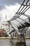 St Paul s Cathedral and Millenium Bridge in London Stock Photos