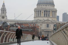 St Paul's Cathedral and Millenium Bridge in winter evening Stock Photo