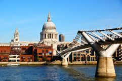 St. Paul's Cathedral with Millennium Bridge Stock Photo