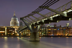 St. Paul's Cathedral and Millennium Bridge Royalty Free Stock Images