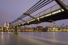 St. Paul's Cathedral and Millennium Bridge Stock Photos