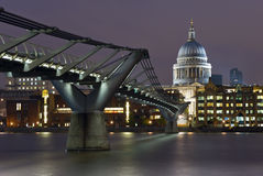 St. Paul's Cathedral and Millennium Bridge Royalty Free Stock Image