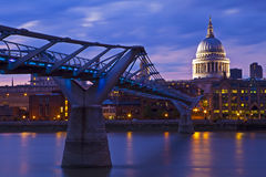 St. Paul's Cathedral and the Millennium Bridge Royalty Free Stock Photography