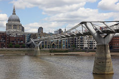 St. Paul's Cathedral and Millennium Bridge Stock Photography