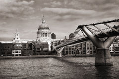 St. Paul's Cathedral and the Millennium Bridge in London Stock Images