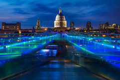 St. Paul's Cathedral and the Millennium Bridge in London, England Royalty Free Stock Image