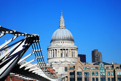 St Paul's Cathedral and the Millennium Bridge Stock Photography