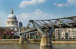 St. Paul's Cathedral and Millennium Bridge in London Royalty Free Stock Photography