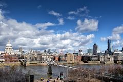 St Paul's Cathedral and Millennium Bridge, London Stock Images