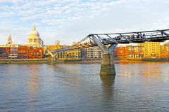 St. Paul's cathedral with the Millennium bridge London UK Royalty Free Stock Photo