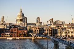 St Paul`s Cathedral and Millennium bridge, London, UK stock image