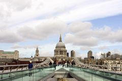 St. Paul's Cathedral and Millennium Bridge Royalty Free Stock Photos