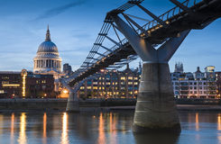 St Paul's Cathedral and the millennium bridge, London, UK Royalty Free Stock Images