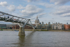 St. Paul's Cathedral and Millennium Bridge, London Stock Photography