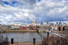 St. Paul's Cathedral and Millennium Bridge, London Royalty Free Stock Image