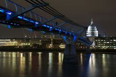 St Paul's Cathedral and Millennium Bridge Royalty Free Stock Photo