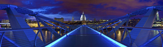 St. Paul's Cathedral and the Millennium Bridge Royalty Free Stock Images