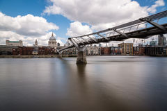St Paul's cathedral with the Millennium bridge and river Thames Stock Image