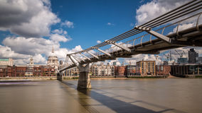 St Paul's cathedral with the Millennium bridge and river Thames Royalty Free Stock Photography