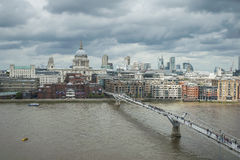 St Paul's Cathedral and Millennium bridge Stock Photography