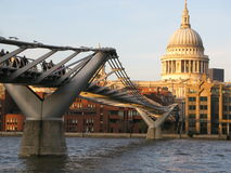 St Paul's Cathedral and Millennium Bridge Royalty Free Stock Photography