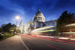 St Paul's Cathedral and moving Double Decker bus, London. UK Royalty Free Stock Photo