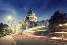 St Paul's Cathedral and moving Double Decker bus, London. UK Stock Images