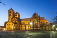 St. Paul's cathedral in Munster, Germany. St. Paul's cathedral in Munster illuminated at night. North Rhine-Westphalia, Germany Royalty Free Stock Photo