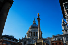 St Paul's Cathedral and Paternoster Square Column stock photo