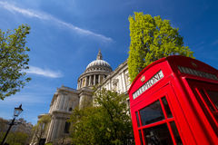 St Paul's cathedral and phone box Stock Images