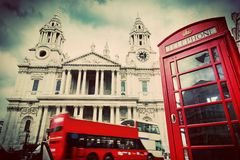 St Paul's Cathedral, red bus, phone booth. London Royalty Free Stock Photography