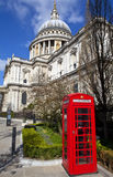 St. Paul's Cathedral and Red Telephone Box in London Royalty Free Stock Photos