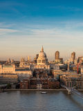 St. Paul`s Cathedral and the River Thames at dusk Royalty Free Stock Image