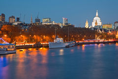 St Paul's Cathedral and River Thames London Royalty Free Stock Photo