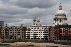 St. Paul's Cathedral and riverside of Thames in London ,UK Royalty Free Stock Photo