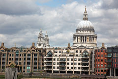 St. Paul's Cathedral and riverside of Thames in London ,UK Stock Images