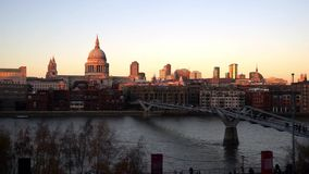 St Paul's Cathedral, seen from Tate Modern stock footage