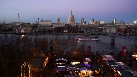 St Paul's Cathedral, seen from Tate Modern stock video footage