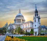 St. Paul`s Cathedral at sunset, London, UK Royalty Free Stock Images