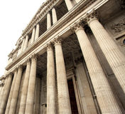 St Paul`s Cathedral. The tall Pillars of the entrance of St Paul`s Cathedral in the city of London Royalty Free Stock Photos