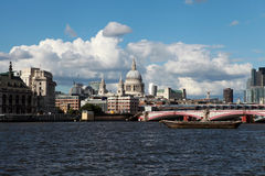 St Paul's Cathedral with the Thames river. Royalty Free Stock Image