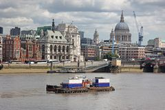 St. Paul's Cathedral and Thames river in London Stock Photography