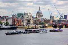 St. Paul's Cathedral and Thames river Stock Photography
