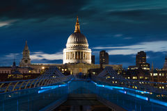 St. Paul's cathedral during twilight Royalty Free Stock Image