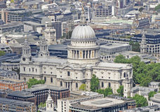 St Pauls Cathedral. A view of St Pauls Cathedral in London from above Royalty Free Stock Photo