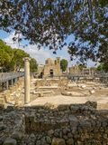 St Paul`s Catholic church or Agia Kyriaki within the ruins of the Byzantine basilica  Panagia Chrysopolitissa in Paphos stock images